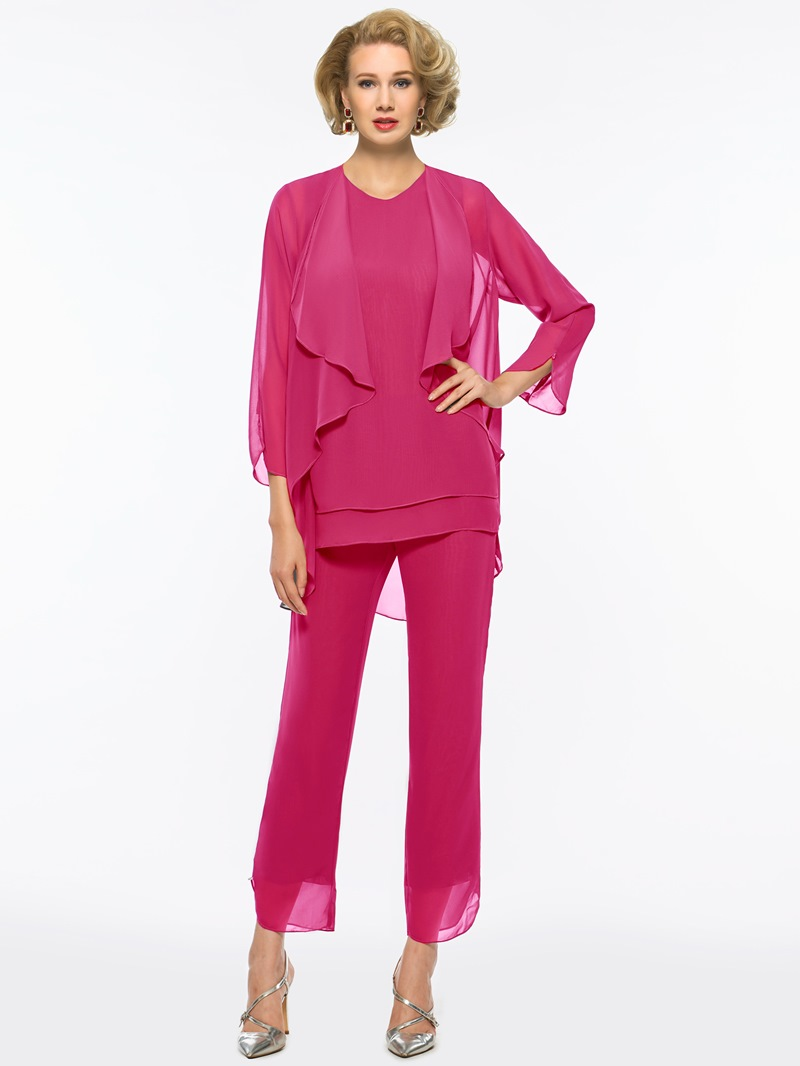 Ericdress 3 Pieces Long Sleeves Mother of the Bride Pantsuits