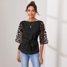 Appliques Mesh Sleeve Tie Front Curved Hem Top