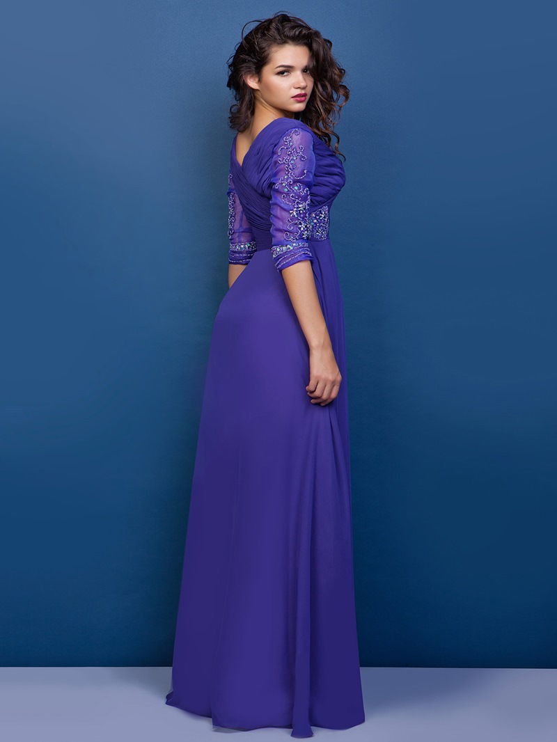 Graceful A-line V-Neck Half Sleeves Floor-Length Appliques Mother of the Bride Dress