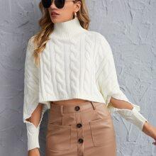 Strick Pullover mit hohem Kragen und Ausschnitt auf Ärmeln