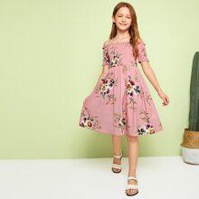 Girls Floral Print Frilled Trim Shirred Dress