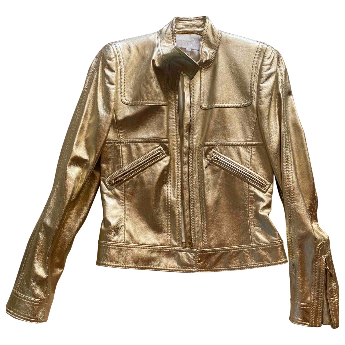 Escada \N Jacke in  Gold Leder