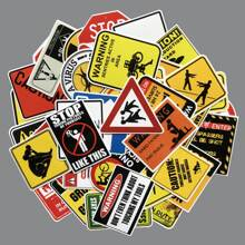 Funny Warning Sign Print Sticker 50pcs