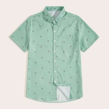 Men Cranes Print Curved Hem Shirt