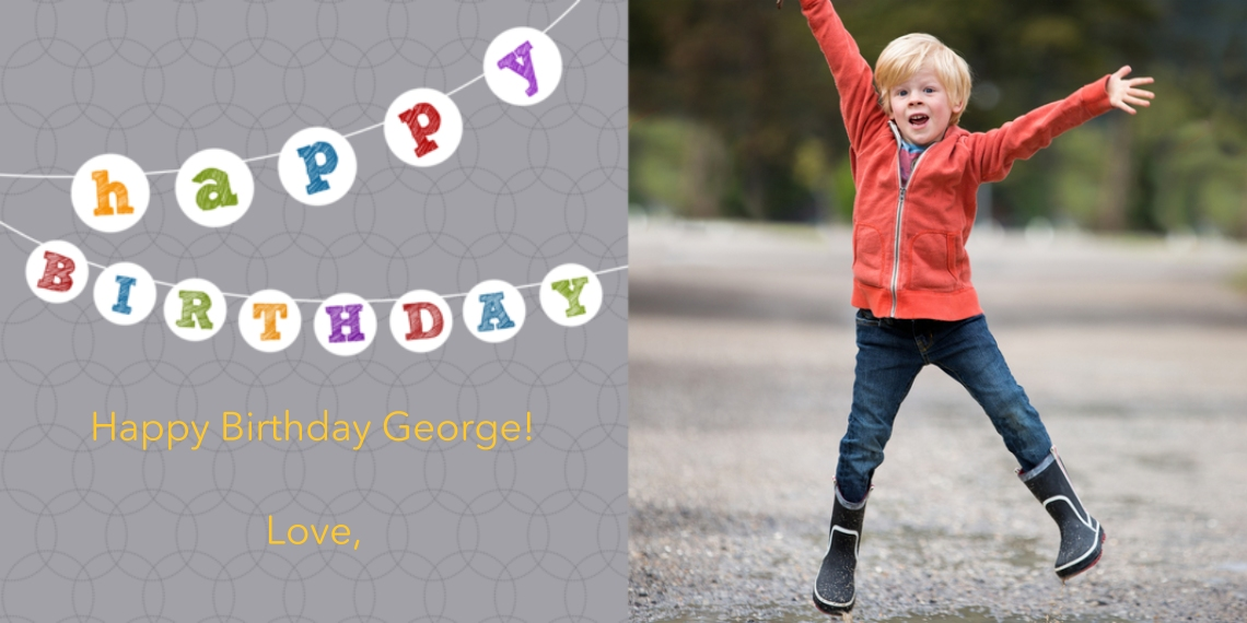 Kids Birthday Party Invites Flat Matte Photo Paper Cards with Envelopes, 4x8, Card & Stationery -Birthday Banner