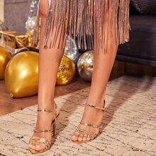 Metallic Stiletto Heeled Sandals