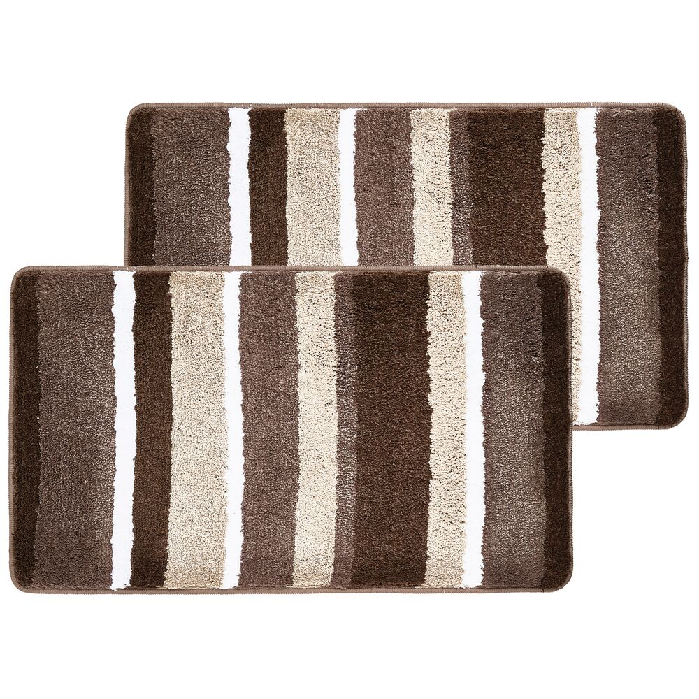 Soft Striped Microfiber Non-Slip Spa Mat, - Pack of in Chocolate, 34