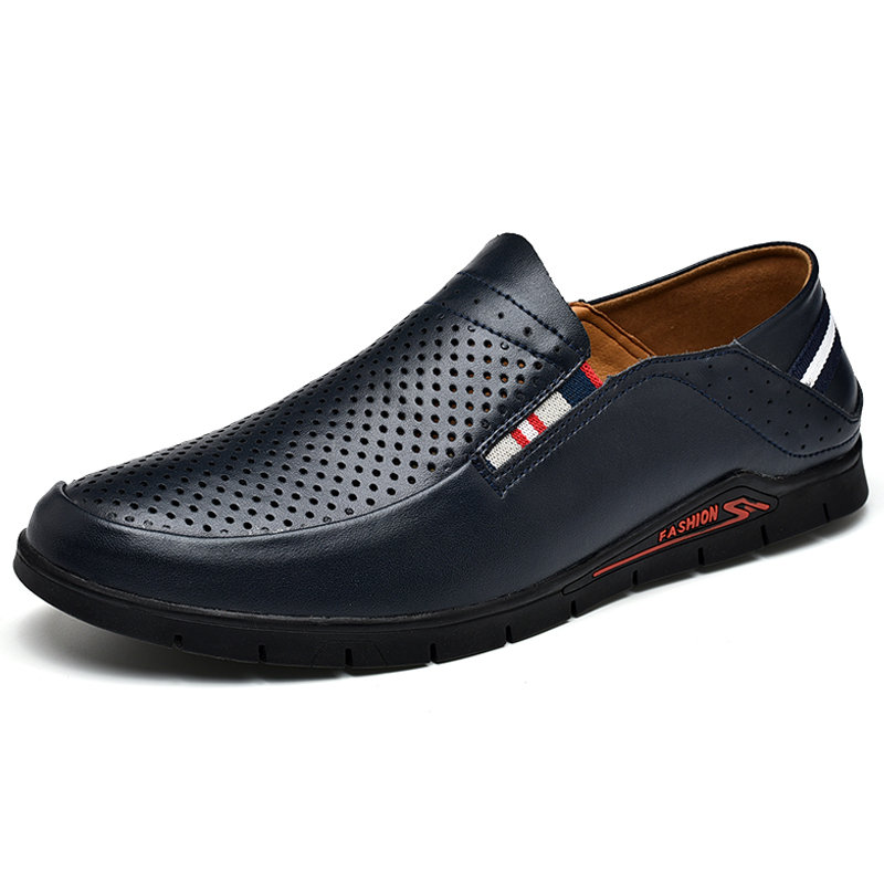 Men Hole Breathable Non Slip Slip On Casual Leather Shoes