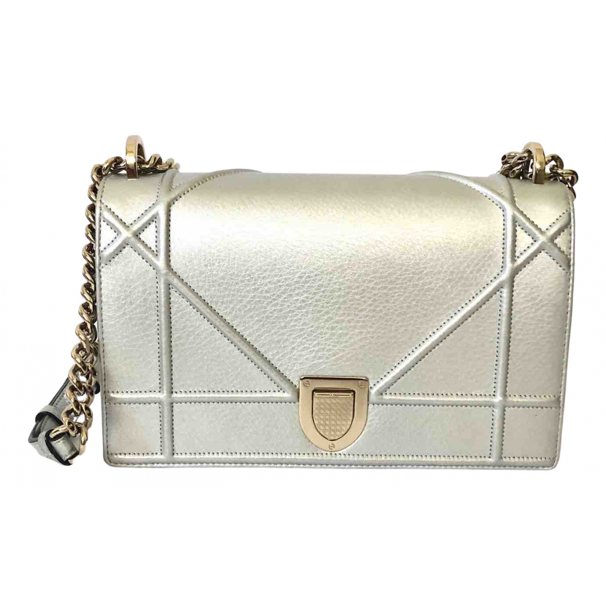 Dior - Sac a main Diorama pour femme en cuir - argente