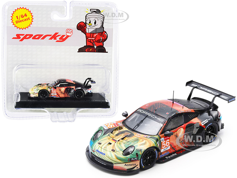 Porsche 911 RSR 56 J. Bergmeister - P. Lindsey - E. Perfetti Team Project 1 Winner LMGTE Am Class 24H of Le Mans (2019) 1/64 Diecast Model Car by Spa
