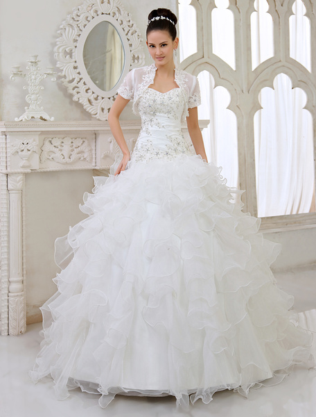 Milanoo Ivory Ball Gown Strapless Sweetheart Neck Applique Floor-Length Wedding Dress For Bride