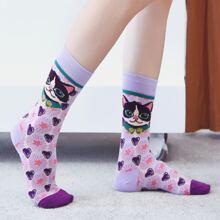 Cat & Heart Pattern Socks