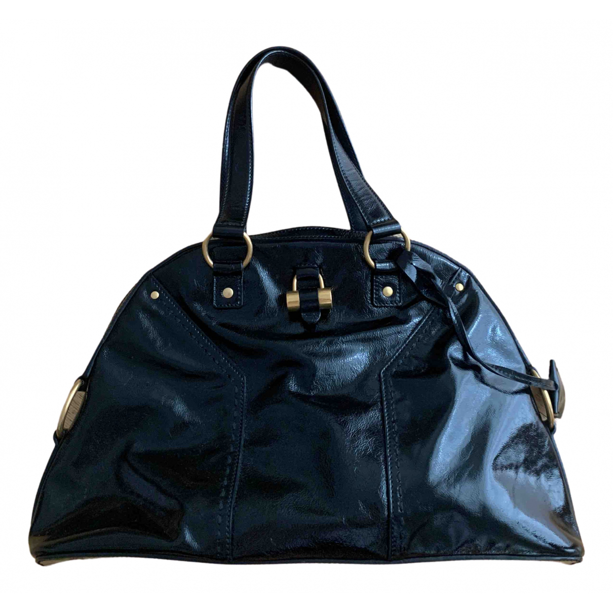 Yves Saint Laurent Muse Handtasche in  Schwarz Lackleder