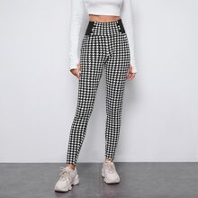 Wide Waistband Houndstooth Print Leggings
