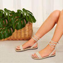 Tie Leg Linen Espadrille Sandals