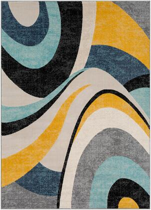 City CIT-2345 53 x 73 Rectangle Modern Rug in Aqua  Mustard  Black  Charcoal  Khaki  Light