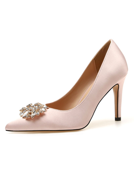 Milanoo Women Party Shoes Nude Pointed Toe Rhinestones High Heel Satin Evening Shoes