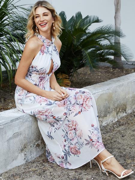 YOINS White Backless Random Floral Print Lace-up Design Halter Sleeveless Dress