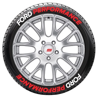 Tire Stickers FRDPERF-1921-75-4-W Permanent Raised Rubber Lettering 'Ford Performance' Logo - 8 of each -   19