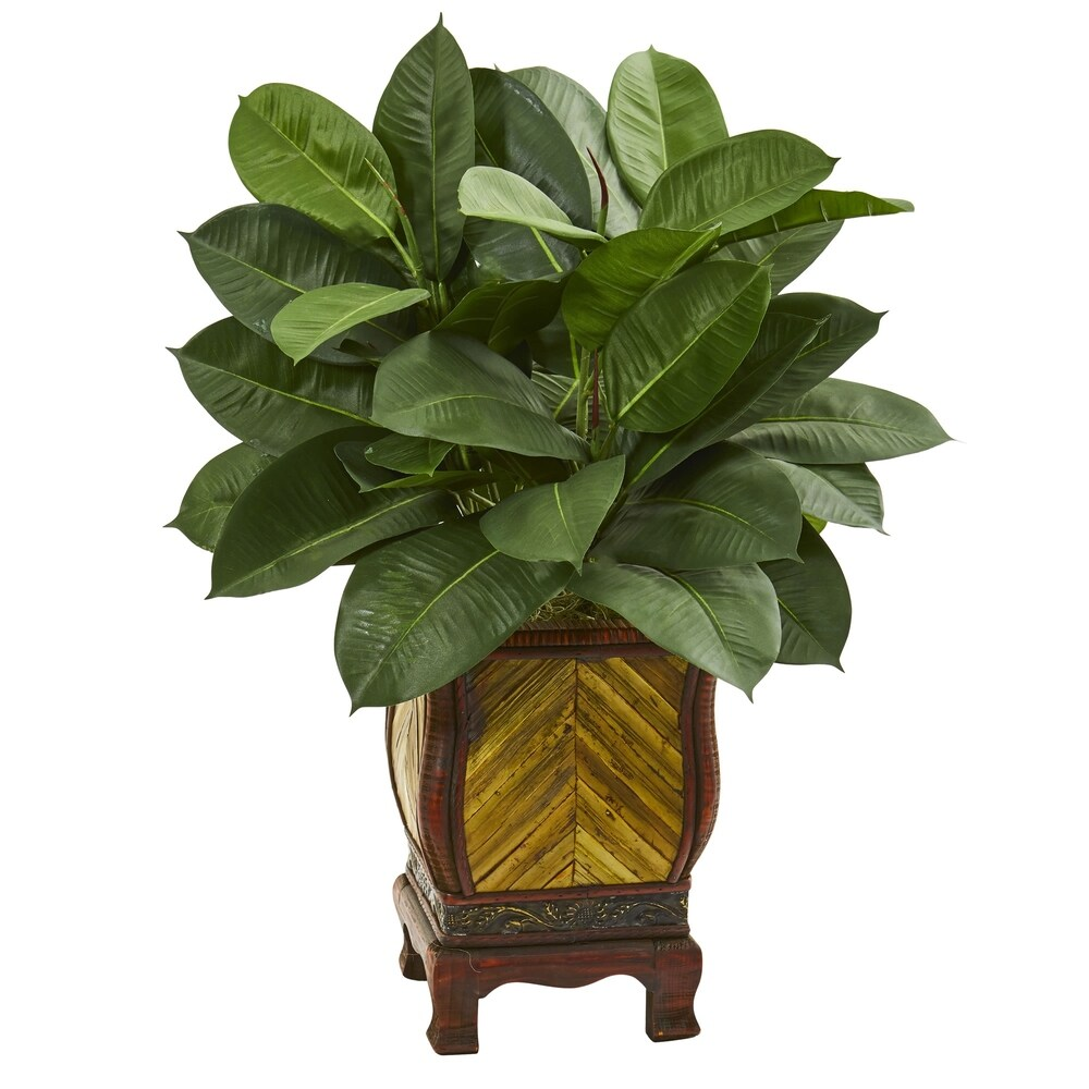Nearly Natural 31-inch Artificial Rubber Plant in Decorative Planter
