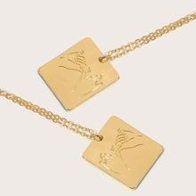 2pcs Geste Gravierte quadratische Charm Halskette