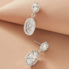 1pair Gemstone Decor Drop Earrings