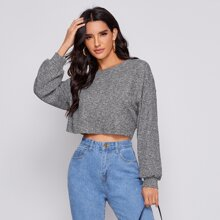 Drop Shoulder Rib-knit Crop Tee