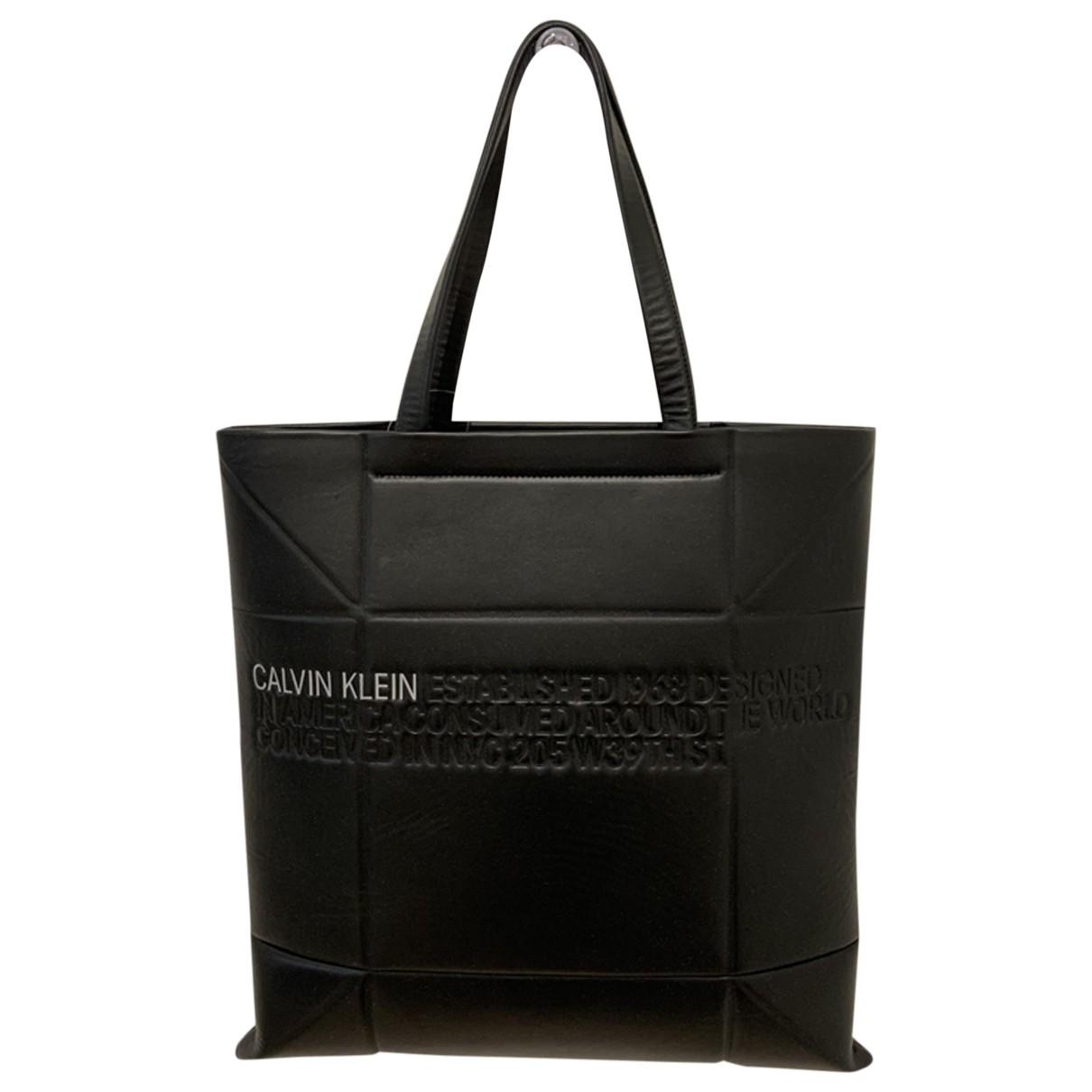 Calvin Klein 205w39nyc \N Handtasche in  Schwarz Leder