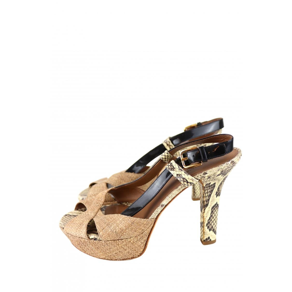 Dolce & Gabbana - Sandales   pour femme en python - marron