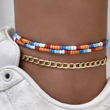 3 Stuecke Fusskette mit bunten Perlen