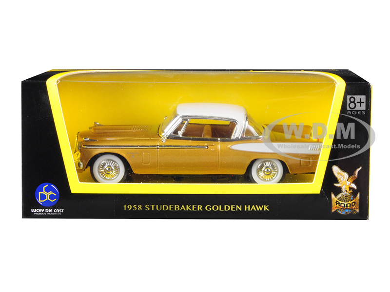 1958 Studebaker Golden Hawk Gold and White Top 1/43 Diecast Model Car by Road Signature