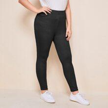 Plus Solid Pocket Back Leggings
