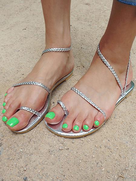 Milanoo Sandalia Zapatillas Plata PU Cuero Sandalia elegante Diapositivas Pisos de mujer