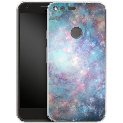 Google Pixel XL Silikon Handyhuelle - Abstract Galaxy - Blue von Barruf