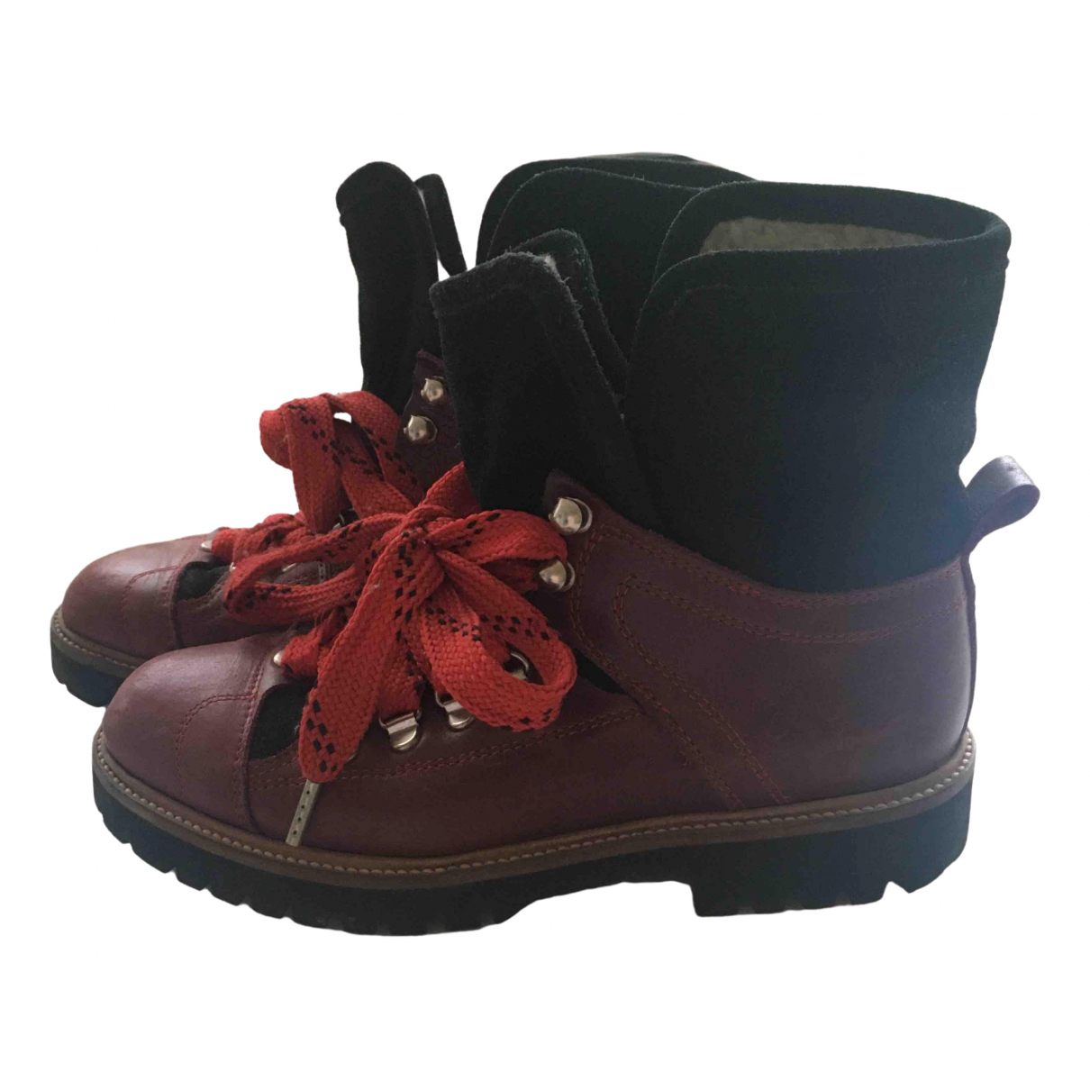 Ganni \N Burgundy Leather Ankle boots for Women 38 EU