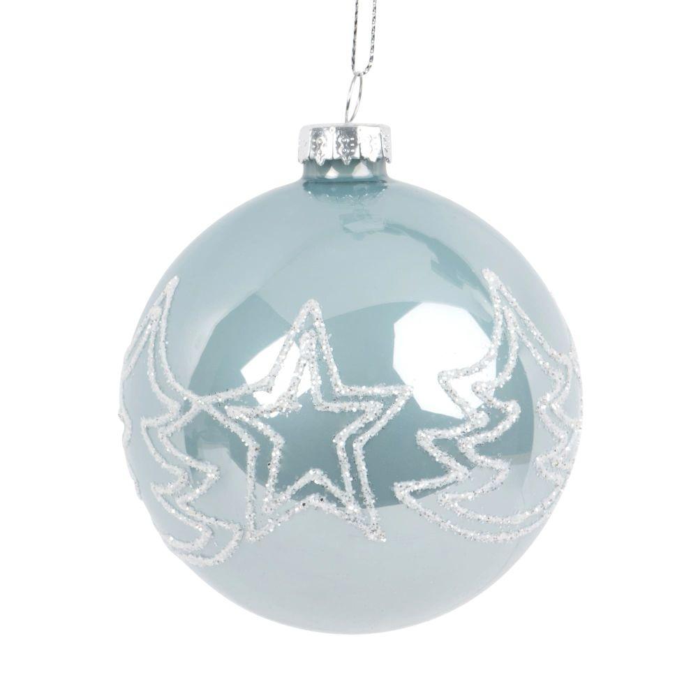 Weihnachtskugel aus Glas, hellblau mit weissen Tannenmotiven