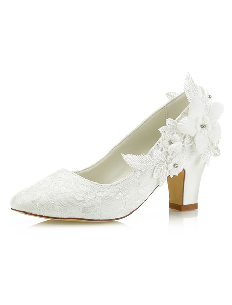 Milanoo Ivory Wedding Shoes Lace Pointed Toe Flowers Beaded Chunky Heel Bridal Shoes