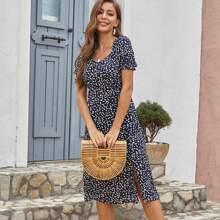 Allover Print Split Thigh A-line Dress