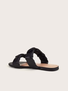 Double Band Ruched Slide Sandals