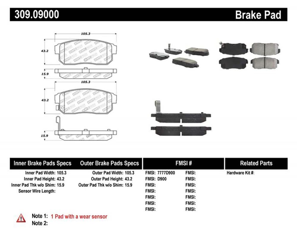 StopTech 309.09 Sport Brake Pads with Shims/Hardware Rear