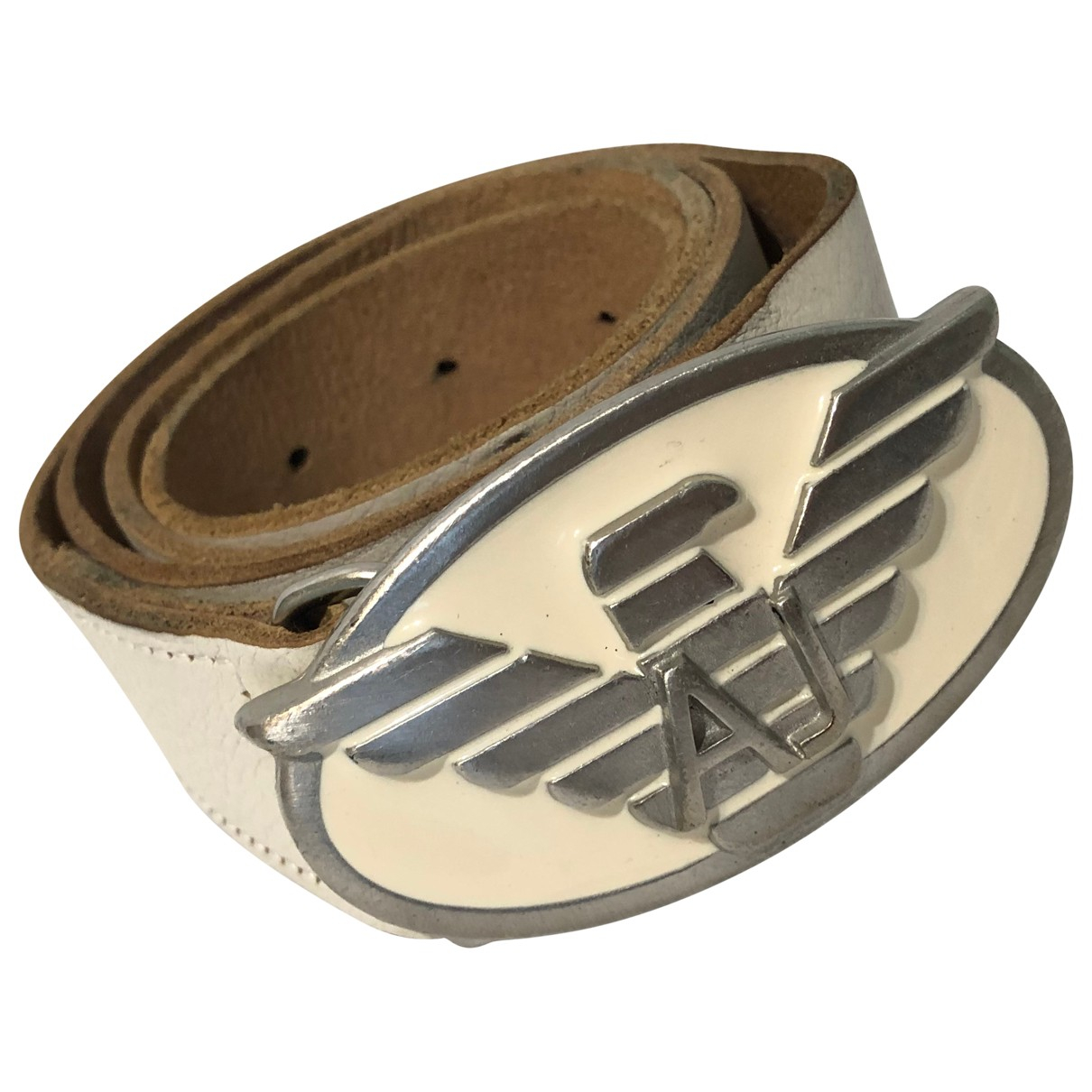 Armani Jeans \N White Leather belt for Women 85 cm