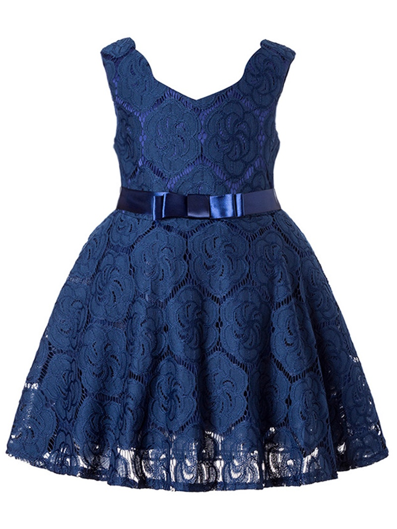Ericdress Lace Bowknot Girl's Sleeveless Princess Dress