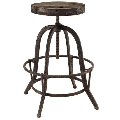 Collect Collection EEI-1208-BRN Bar Stool with Round Shaped Seat  Indutrial Modern Style  Iron Footrest Ring  Cast Iron Base and Solid Pine Wood Top