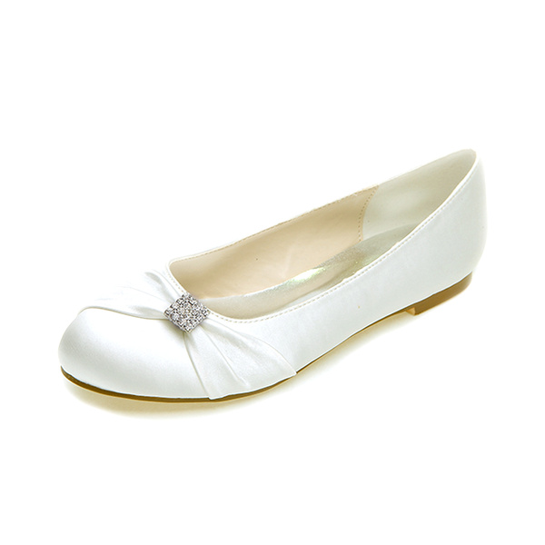 Milanoo Womens Wedding Shoes Rose Satin Bows Round Toe Flat Bridal Shoes