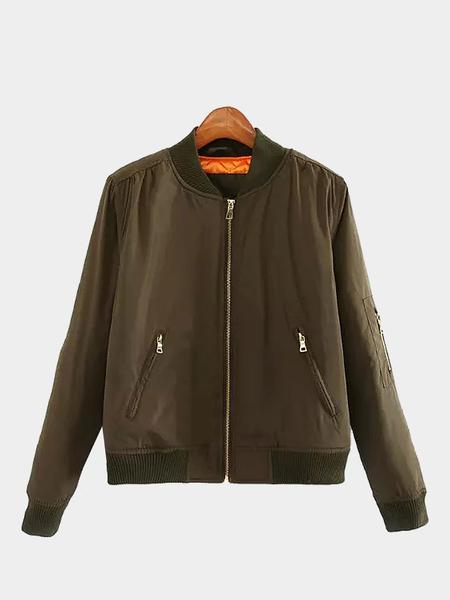 Yoins Casual Long Sleeve Zipper Bomber Jacket