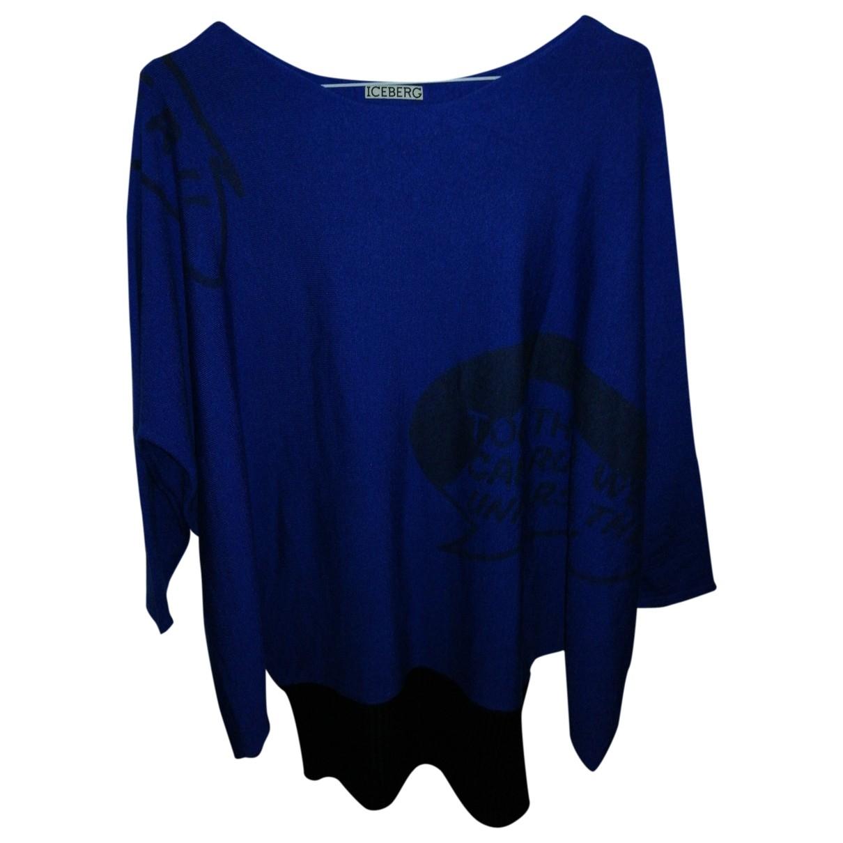 Iceberg - Pull   pour femme en laine - bleu