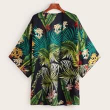 Drop Shoulder Tropical Print Kimono