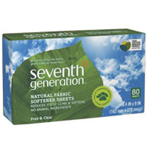 Natural Fabric Softener Sheets Free and Clear, 80 CT(case of 12) by Seventh Generation