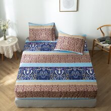 1pc Royal Pattern Fitted Sheet Without Pillow