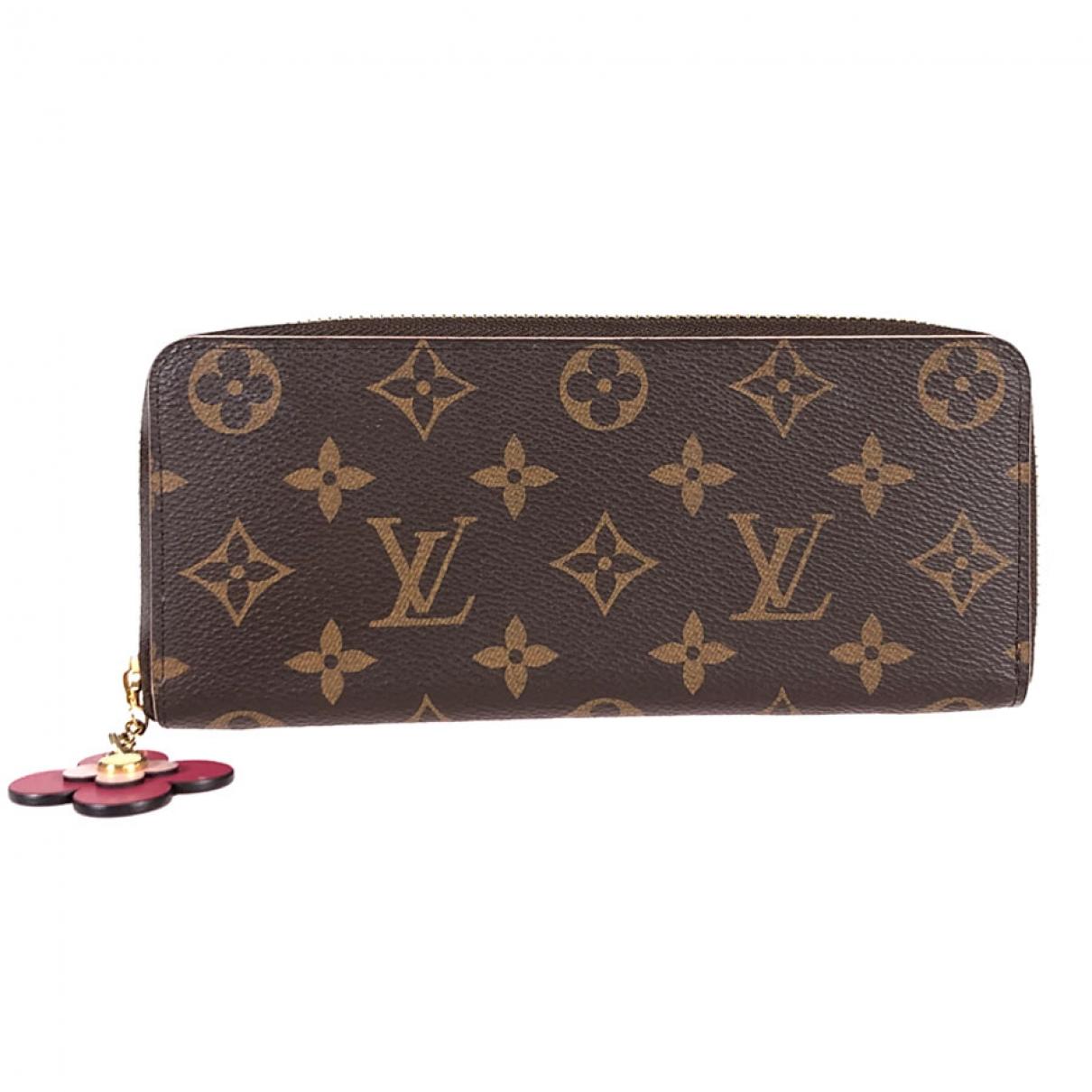 Louis Vuitton - Portefeuille Clemence pour femme en toile - marron